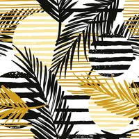 Sin fisuras patrón exótico con palmeras y elementos geométricos.
