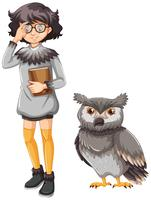 Girl in gray outfit and cute owl