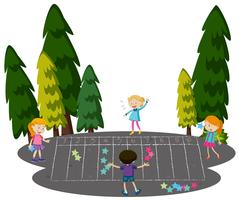 Barnen spelar Math spel på Park