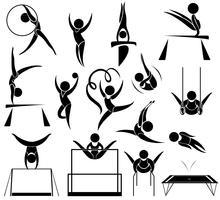 Sportpictogram van athelte die verschillende sporten doet