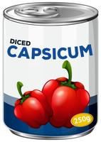 A tin of diced capsicum