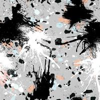 Abstract seamless pattern with brush strokes, paint splashes and stone textures.