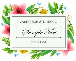 Card template with wild flowers frame