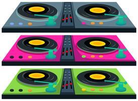 Tre färger av diskjockningsmaskin