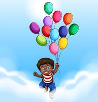 African american boy flying with balloons vector