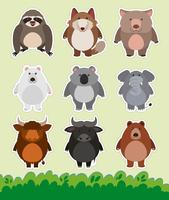 Sticker design with cute animals on grass