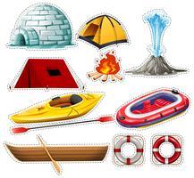 Diferentes tipos de barcos e coisas de acampamento