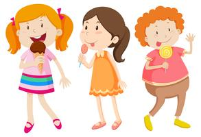 Mädchen, die Bonbon auf weißem Hintergrund essen