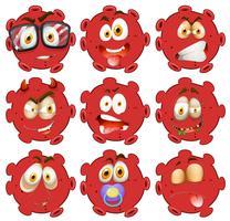 Rote Kugel mit Gesichtsausdrücken