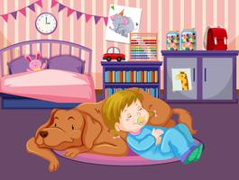 A baby sleep with dog