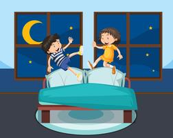 Girl and boy jumping on bed
