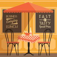Vektor modern platt design illustration av street cafe.