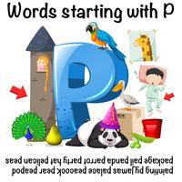 Wörter beginnen mit P auf weißem Hintergrund