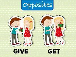 Palabras opuestas para dar y recibir.