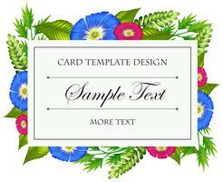 Modèle de carte avec des fleurs colorées