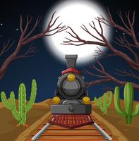 Train in night desert scene