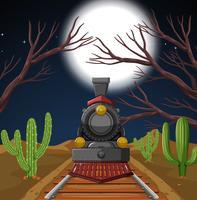 Train in night desert scene