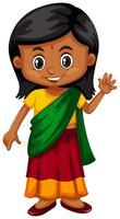 Lilla tjejen från Srilanka vinkar