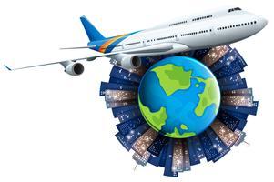Avion volant autour de la terre