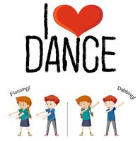 I love dance concept vector