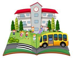 Een popup-boek met kinderen op school