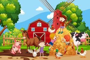 Escena de la granja con niños y animales.