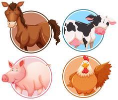Set van landbouwhuisdieren op cirkel achtergrond