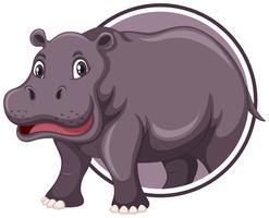 Hippopotame sur le modèle d'autocollant