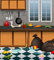 Eine schmutzige Küche voll oder Abfall