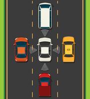 Luftbild von Elektroauto