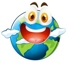 Earth with happy face
