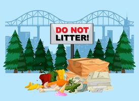 DO not litter banner with city background