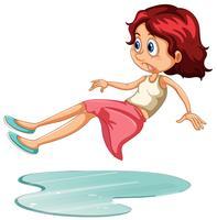 A Girl Having Accident Slip