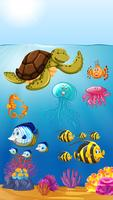 cute marine animals underwater vector
