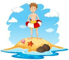 Man med en livräddning på en ö