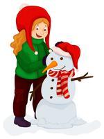 Menina, tocando, boneco neve