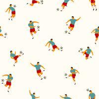 Voetbal spelers. Vector naadloos patroon.