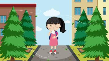 En ung tjej med allergier