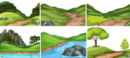 Set of nature background vector