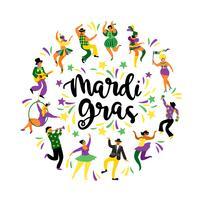 Mardi Gras. Illustration vectorielle de drôles d'hommes et de femmes dansant en costumes lumineux