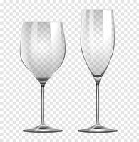 Deux types de verres à vin