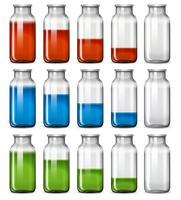 A set of liquid bottle vector