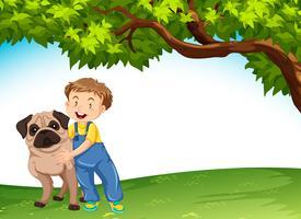 Een jongen en een hond in aard