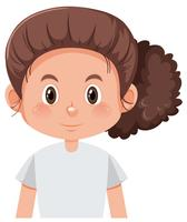 A curly brunette girl character