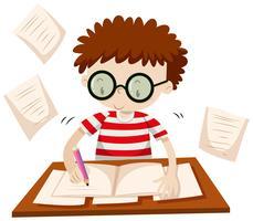 Menino, escrita, tabela