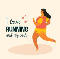 Kroppspositiv. Glad plus storlek tjej och aktiv livsstil.