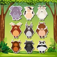 Set of wild animals sticker