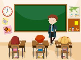 Teacher and students classroom scene vector