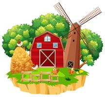Farm scene with red barn and wooden windmill