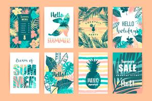 Conjunto de diseños tropicales de verano. Plantillas de vectores